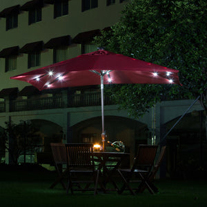 Abba Patio 9 by 7 Feet Rectangular Patio Umbrella with Solar Powered 32 LED Lights with Tilt and Crank, Dark Red