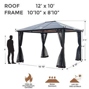 HIO 12 ft. x 10 ft. Hardtop Aluminum Patio Gazebo