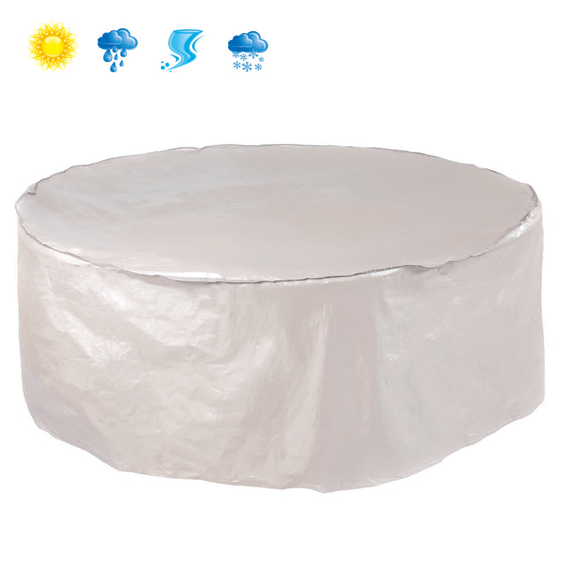 Outdoor Round Table and Chair Set Cover Porch Furniture Cover Waterproof, Beige, 84'' Dia.
