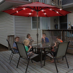 9' Round Aluminum Solar Powered 24 LED Light Patio Umbrella with Tilt and Crank
