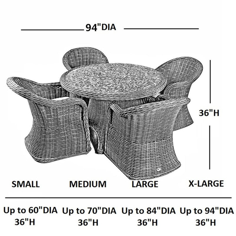 Outdoor/Porch Round Table and Chair Set Cover