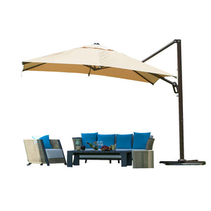 10 ft Octagon Cantilever Vented Tilt & Crank Lift Patio Umbrella with Cross Base, Tan