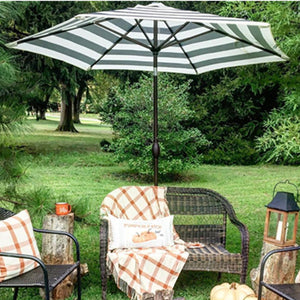 9 Feet Market Table Umbrella With Push Button Tilt And Crank, Black Striped