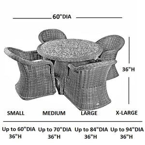 Abba Patio Outdoor Round Table and Chair Set Cover Porch Furniture Cover Waterproof, Beige, 60'' Dia.