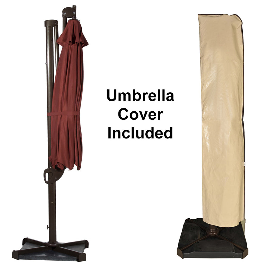 Abba Patio Offset Patio Umbrella 11-Feet Hanging Cantilever Umbrella with Cross Base and Umbrella Cover, Dark Red
