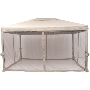 SORARA Gazebo Pavilion Fully Enclosed Heavy Duty Garden Canopy with Mesh Insect Screen, 10 x 13-Feet, Sand