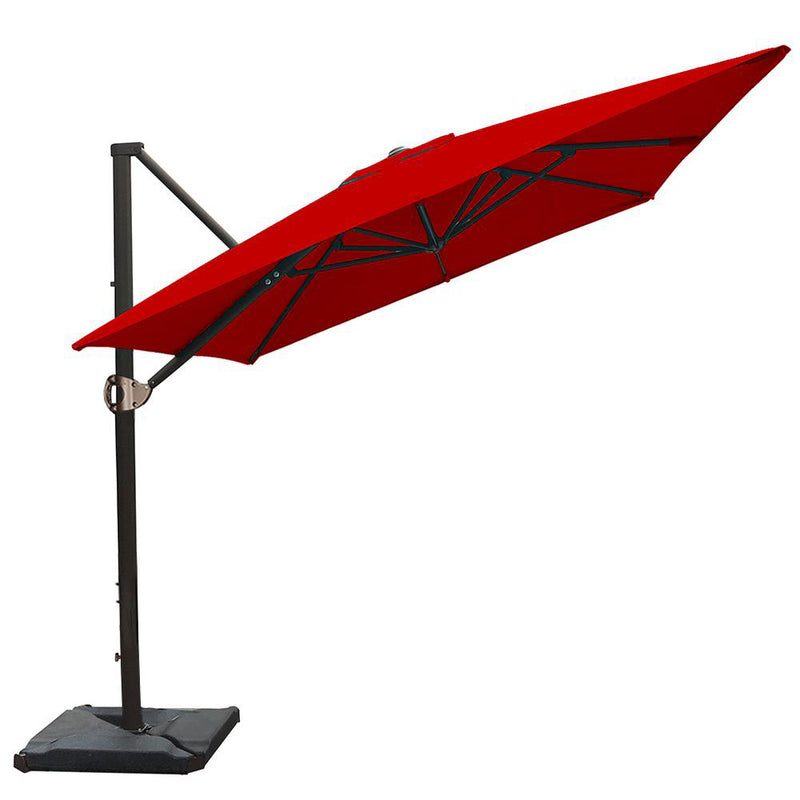 8 x 10 Feet Rectangular Offset Cantilever Umbrella, Red