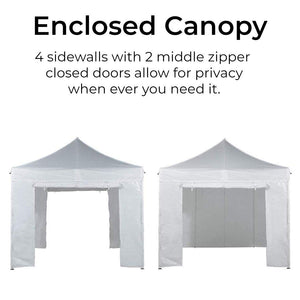 Abba Patio 10 x 10 foot Pop Up Heavy Duty Instant Canopy Commercial Portable Canopy with Sidewalls Enclosure, White
