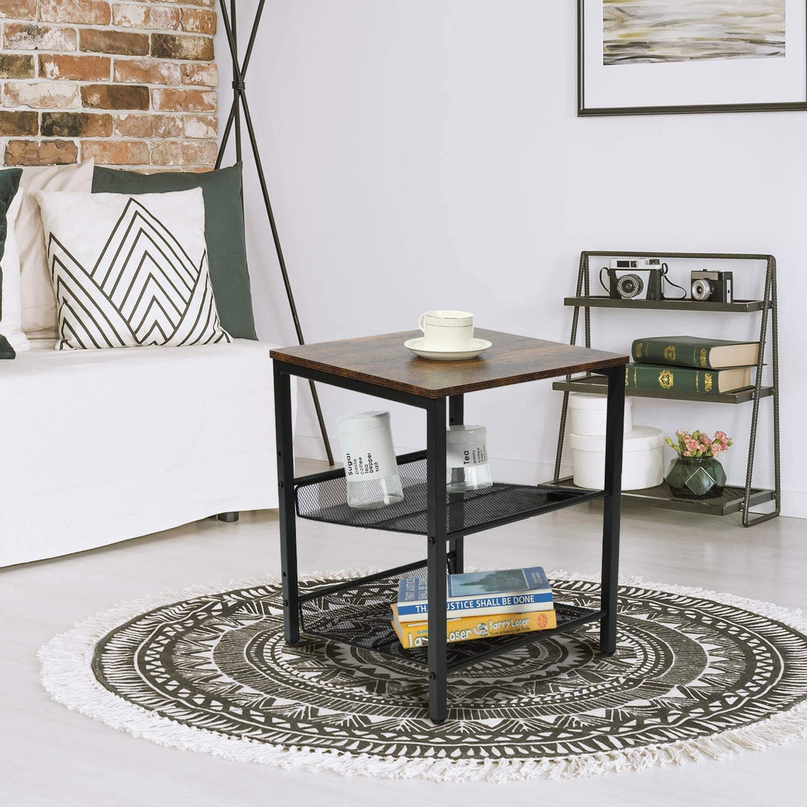End Table, Vintage Nightstand with Storage Rack