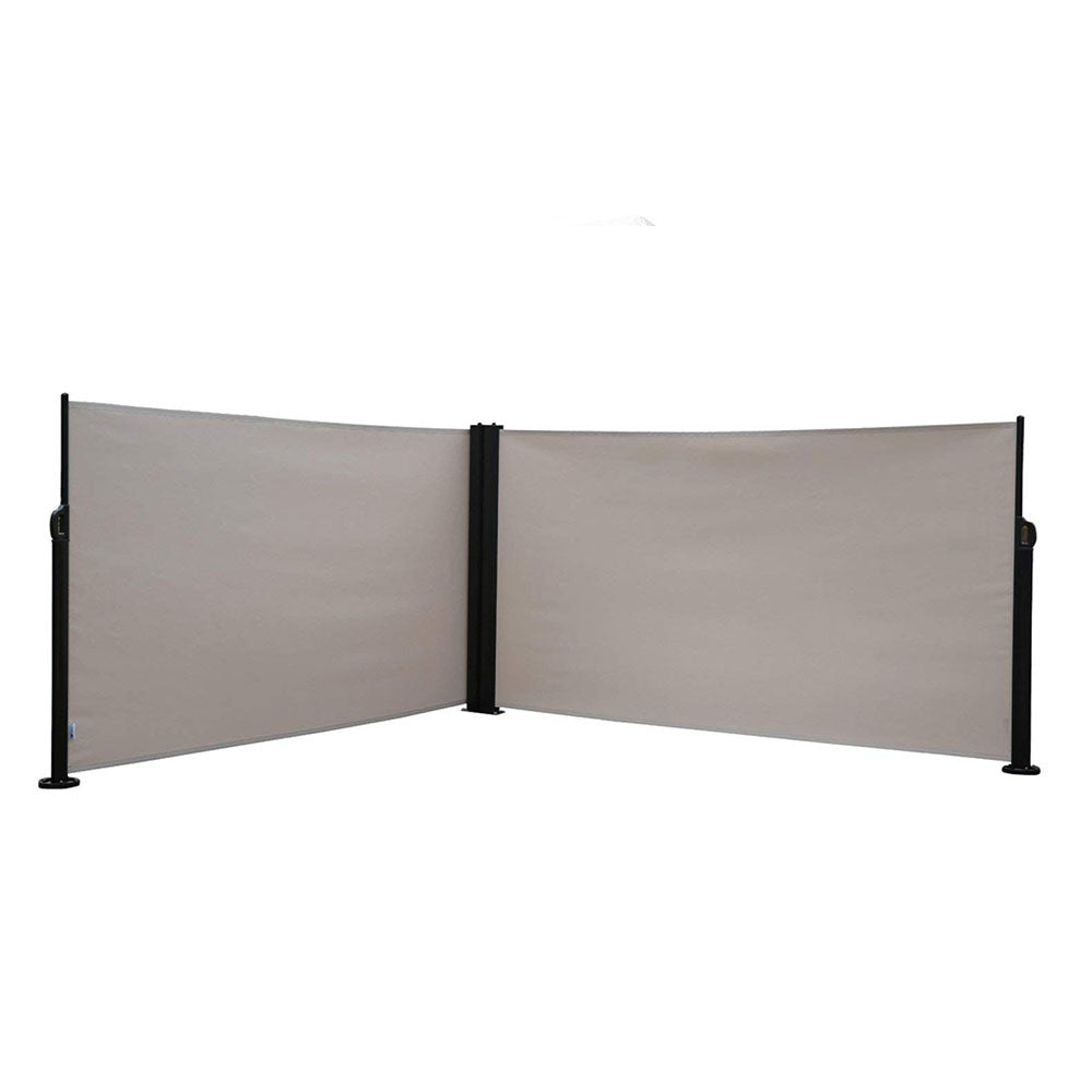 Abba Patio Retractable Double Folding Awning Screen Fence Privacy Divider  With Steel Pole, 5.2u0027