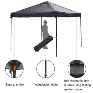 Abba Patio 10 x 10-Feet Outdoor Pop Up Portable Shade Instant Folding Canopy with Roller Bag, Dark Grey