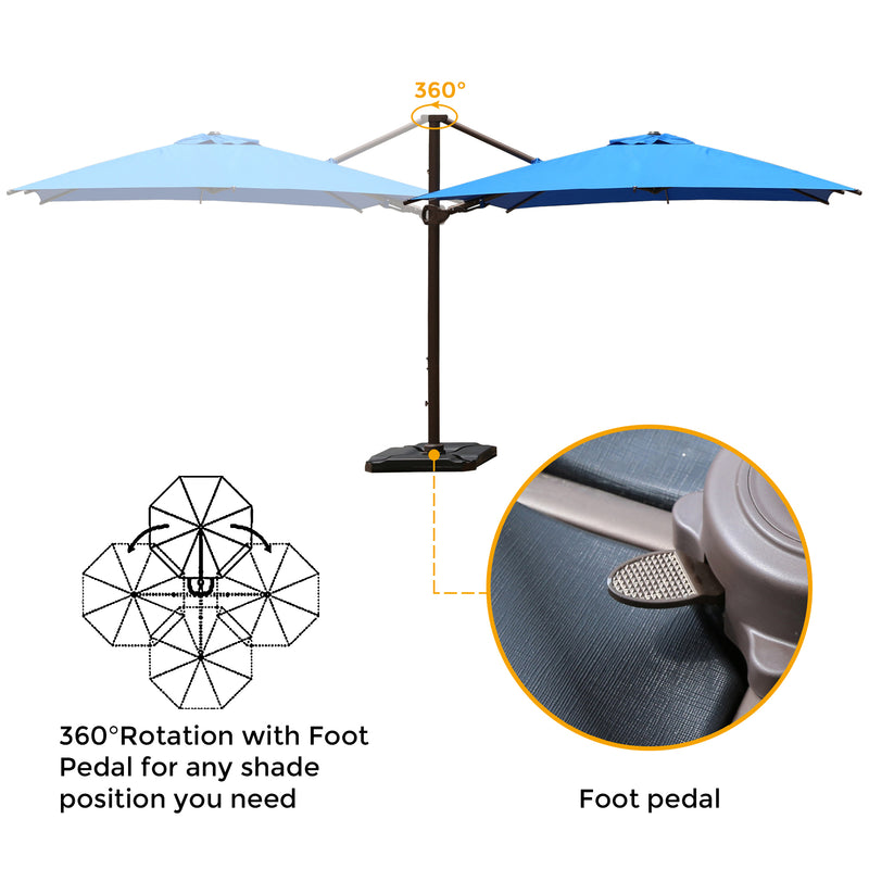 10 x 10 Feet Rectangular 360 Degree Rotation Offset Cantilever Umbrella (Weights Included)