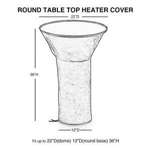 Heater Cover Round Table Top Patio Cover Waterproof, Brown