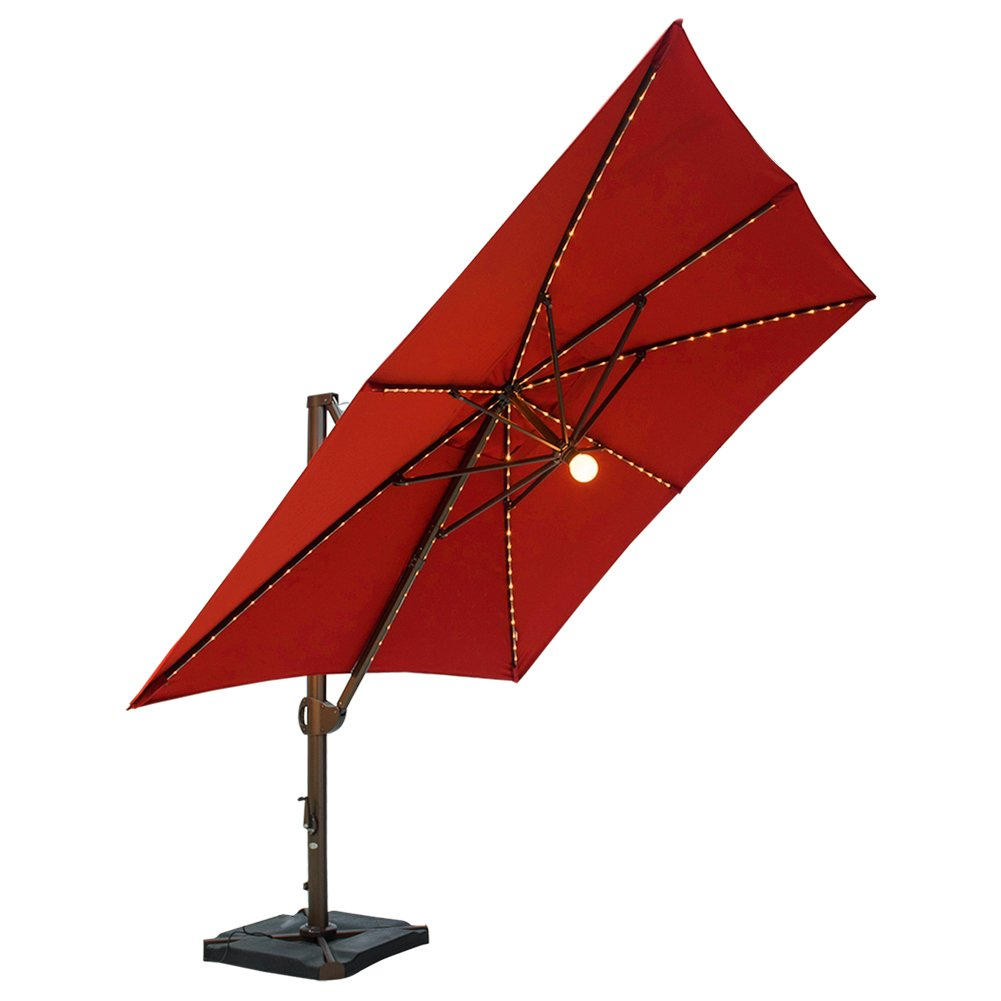 SORARA 10 by 10 Feet Deluxe Offset Cantilever Umbrella with Lights (Cover & Base Included)