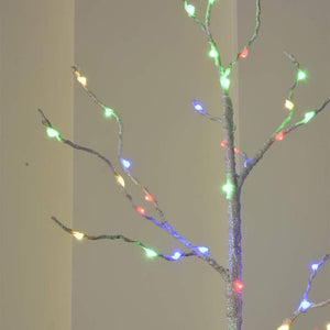 Battery Powered Twig Lighted White Branches with Timer, 25Inch 50LED Branch Artificial Tree Lights for Home Decoration