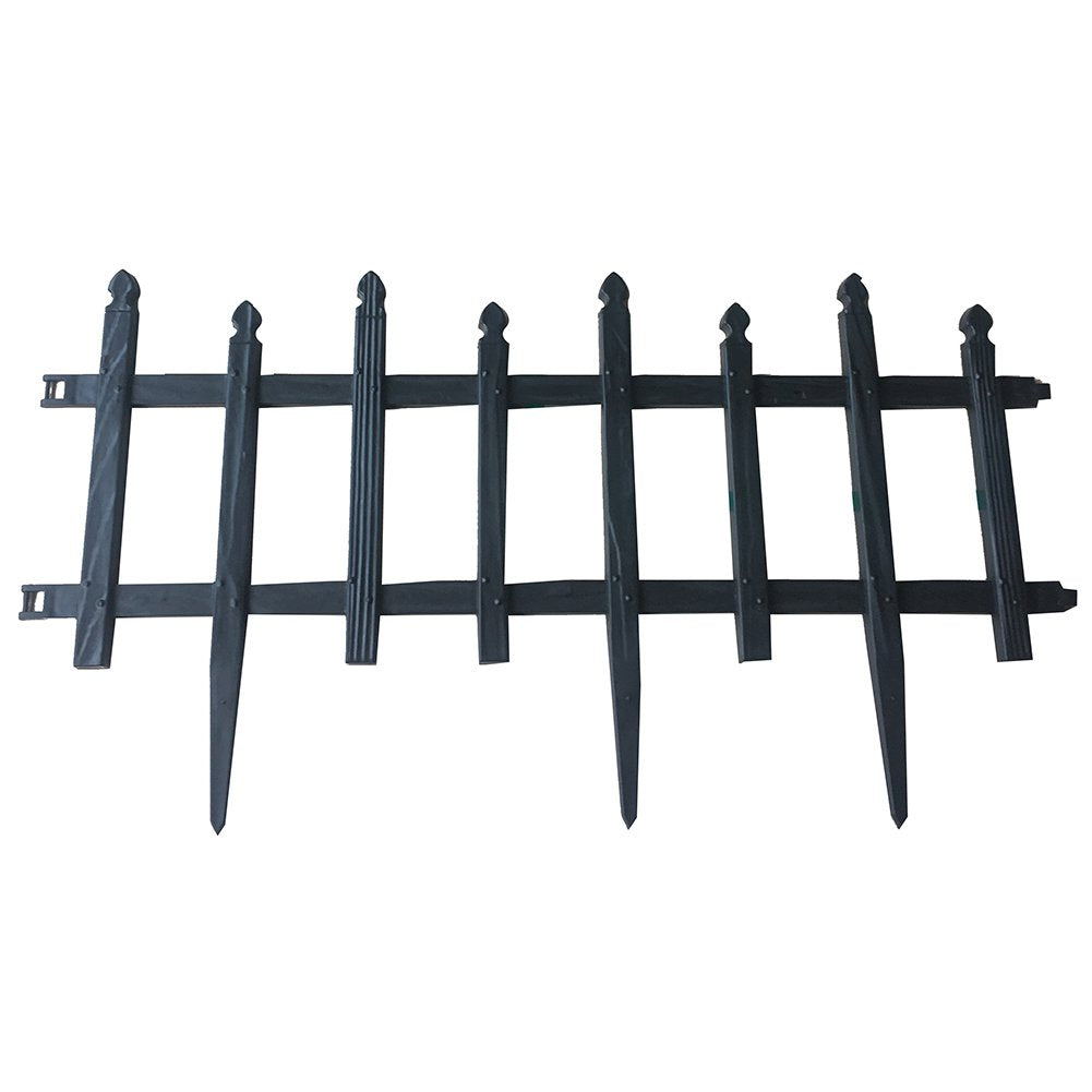 ABBA ECO Garden Border Fencing Recycled Plastic Section 6 Pack, 24.4 Inch X 13 Inch, Black