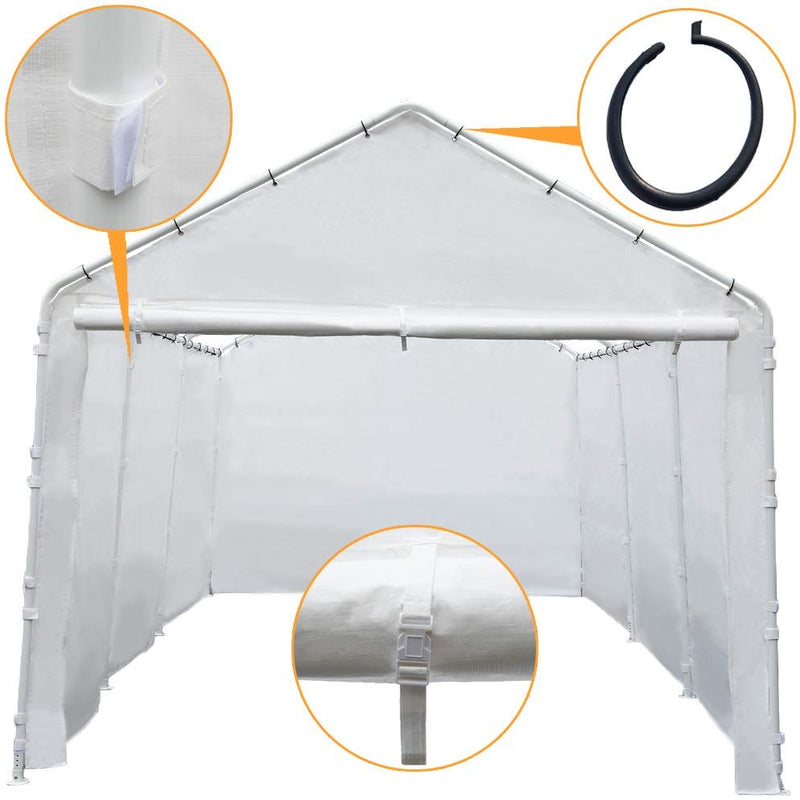 Replacement Cover for 10 x 20-Feet 6 Legs Carport Shelter with Rings, (Frame & Top Cover Not Included)