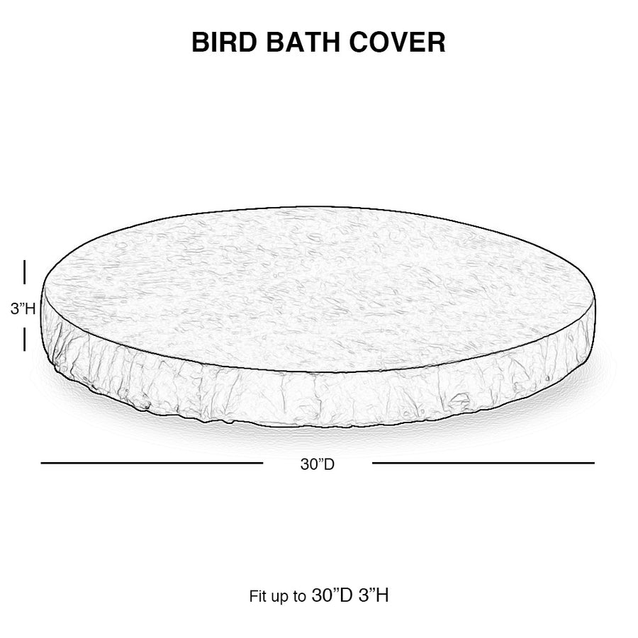 Bird Bath Cover Waterproof for 30-Inch Diameter Bowl, Brown