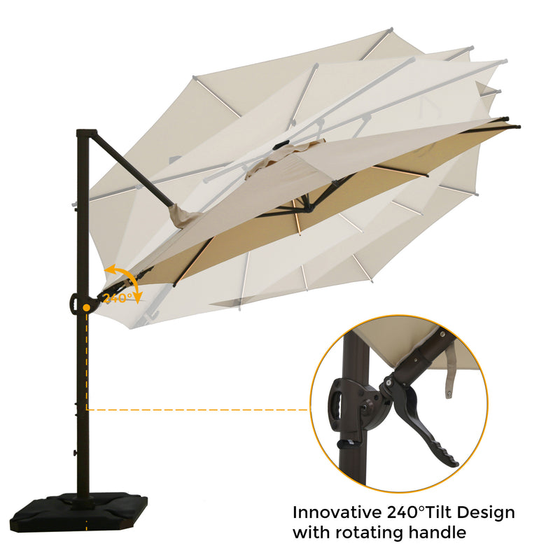 11.5 Feet Solar LED 360 Degree Rotating Offset Cantilever Umbrella (Base Weight Included)