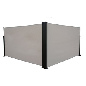Abba Patio Retractable Double Folding Awning Screen Fence Privacy Divider with Steel Pole, 5.2'H, Beige