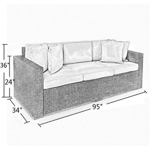 Abba Patio Outdoor 3-Seat Sofa Cover Waterproof Wicker/Rattan Lounge Porch Sofa Cover, 95-Inch