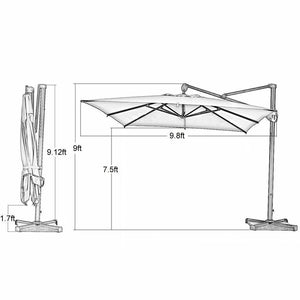 10 by 10 Feet Deluxe Offset Cantilever Umbrella (Cover Included)