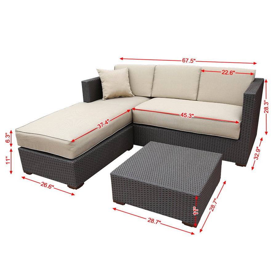 3 Piece Outdoor Wicker Rattan Garden Sofa and Chaise Lounge Set