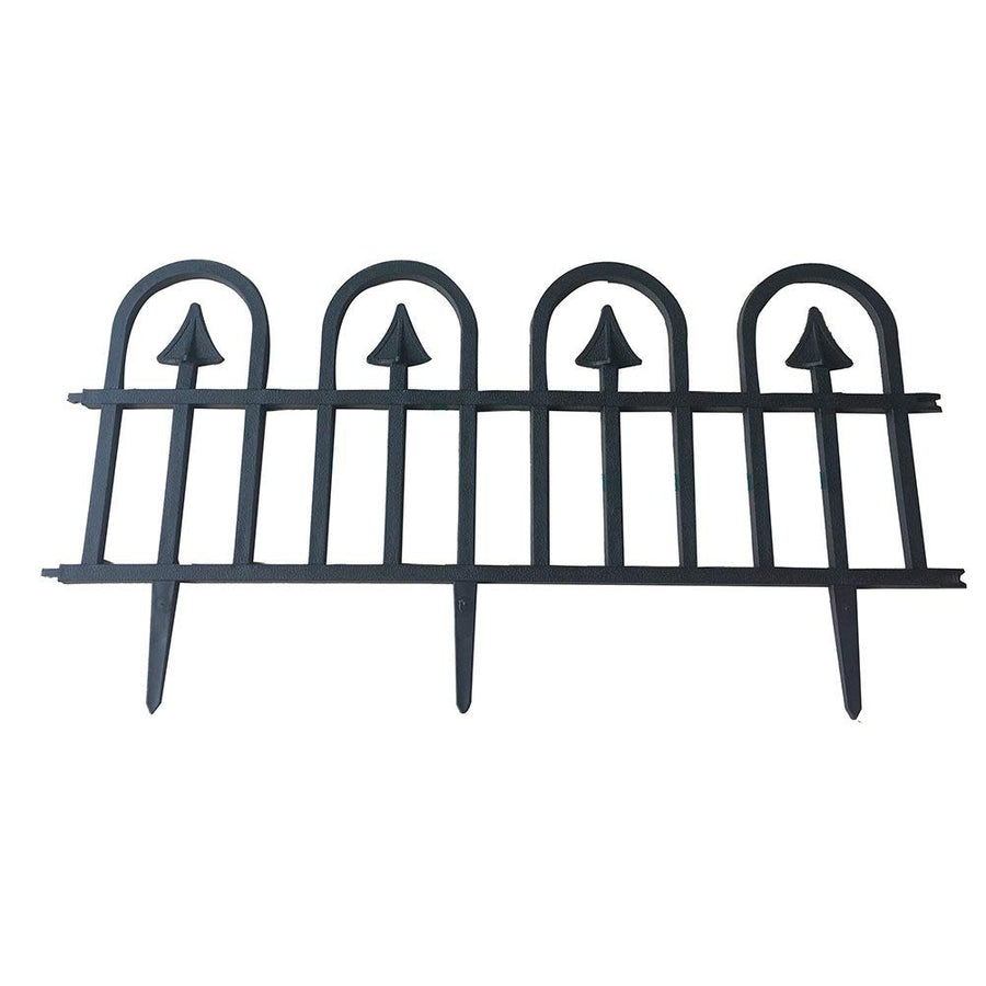 ABBA ECO Garden Border Fencing Eco-Friendly Weatherproof Recycled Plastic Resin Garden Edging Section-6 Pack, Black