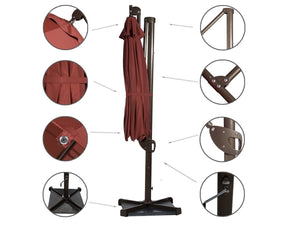 11 Feet Hanging Cantilever Umbrella with Cross Base , Dark Red (Cover Included)