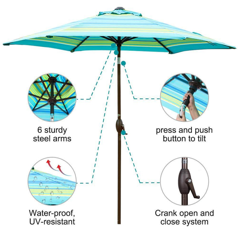 Abba Patio 9-Feet Aluminum Market Table Umbrella With Push Button Tilt And Crank