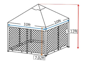 10x10 Feet Gazebo Soft Top Fully Enclosed Garden Canopy with Mosquito Netting -Brown