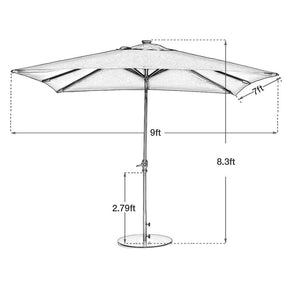 Abba Patio 9 by 7 Feet Rectangular Patio Umbrella with Solar Powered 32 LED Lights with Tilt and Crank