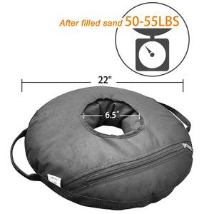 "22"" Round Umbrella Base Weight Bag Up to 55lbs, Detachable Easy Fill Umbrella Weight"