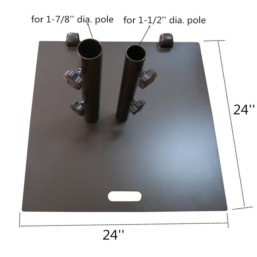 Square Steel Wheeled Free Standing Umbrella Base, 53 lbs