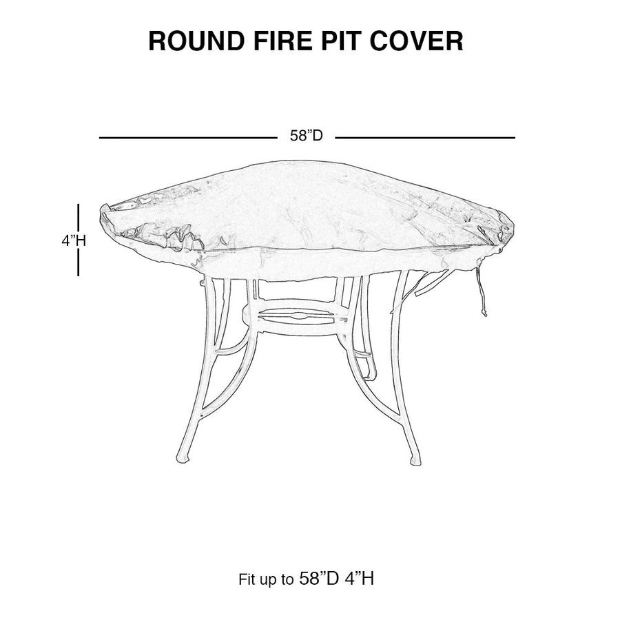 Round Fire Pit Cover Waterproof, 58-Inch