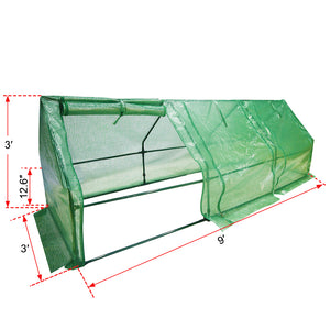 Abba Patio Large Walk-In Greenhouse Fully Enclosed Portable Greenhouse, 9'W x 3D x 3'H