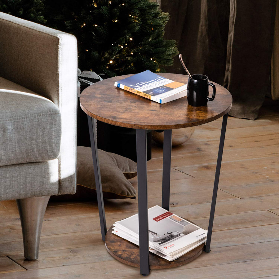 Round End Table with Storage Rack, Rustic Side Table