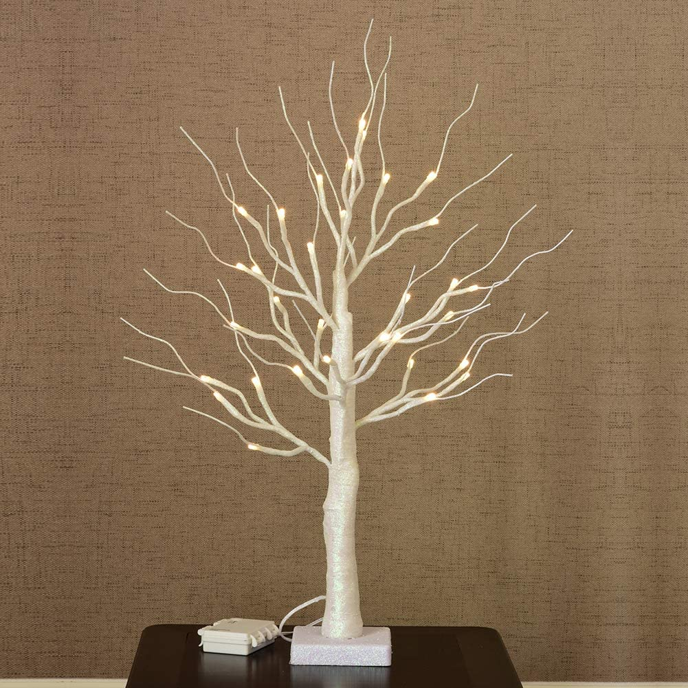 Tree Bonsai LED, Battery Powered 25Inch 32LED Night Light with Timer