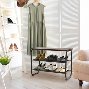 Entryway Shoe Storage Rack Bench with 2 Mesh Shelves