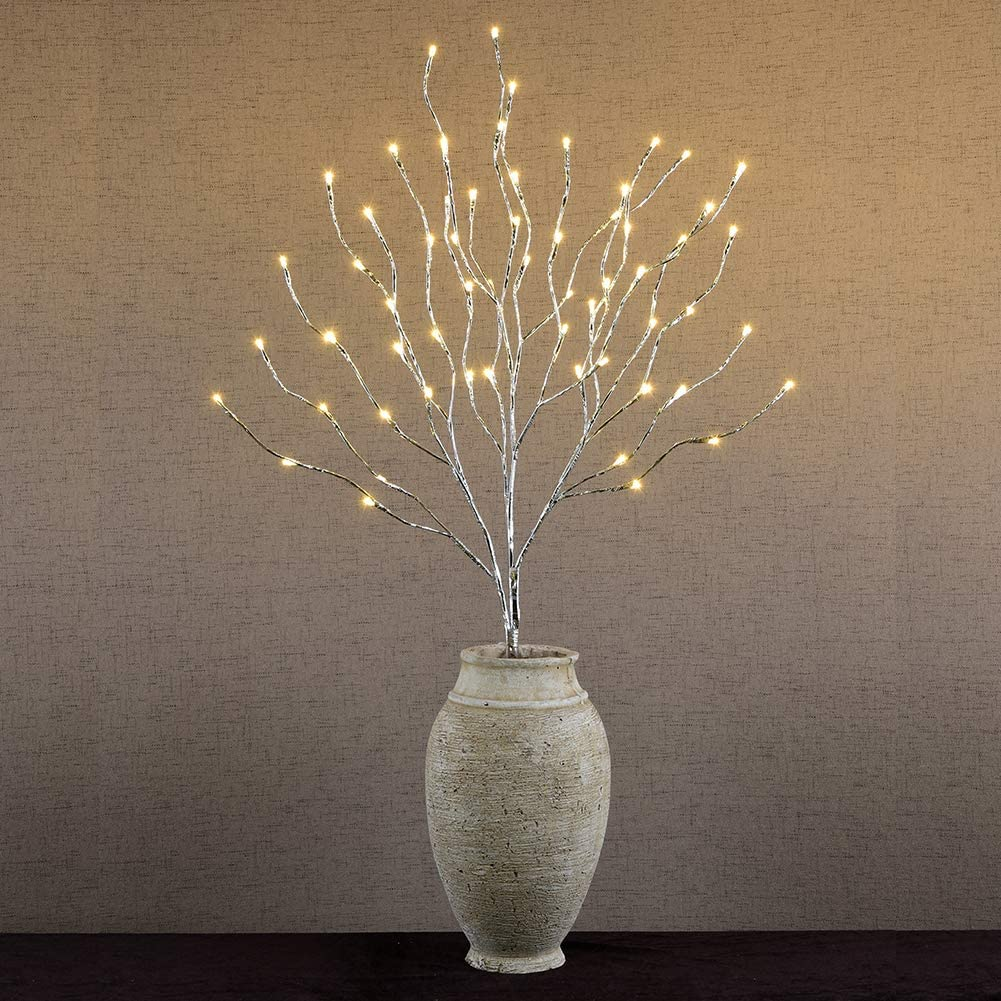 Branch Lights 39Inch 60LED Plug in Willow Twig Lighted Silver Branch Artificial Tree Lights for Home Decoration