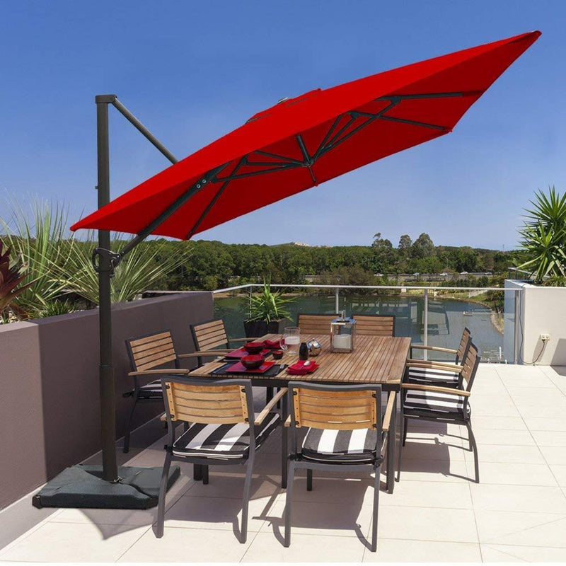 Abba Patio 8 x 10 Feet Rectangular Offset Cantilever Umbrella, Red