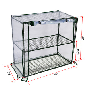"Abba Patio 2 Tier Mini Greenhouse Portable Lawn and Garden Green House, 40"" L x 20"" W x 36"" H"