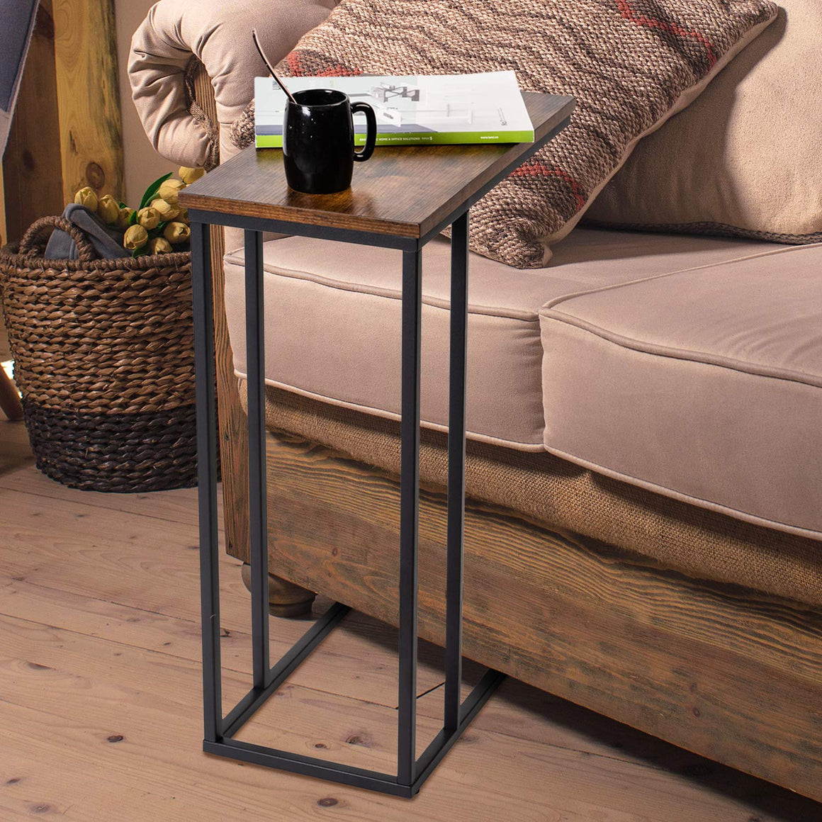 C Side End Table With Storage and Sturdy Metal Frame