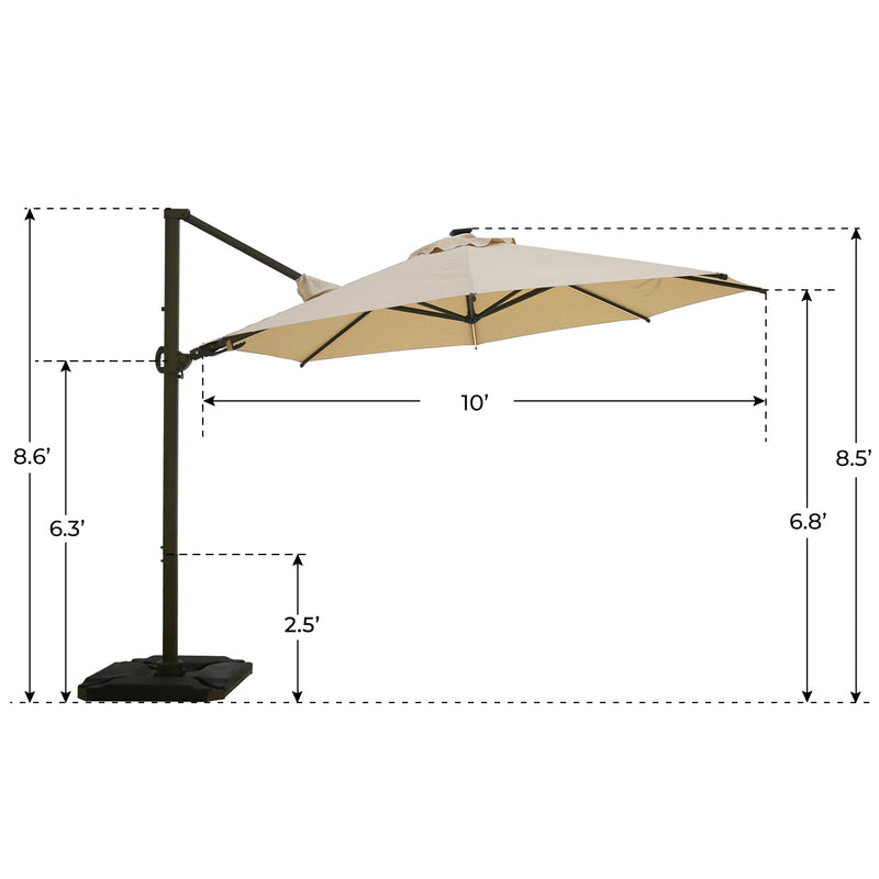 Abba Patio 11.5 Feet Solar LED 360 Degree Rotating Offset Cantilever Umbrella (Base Weight Included)