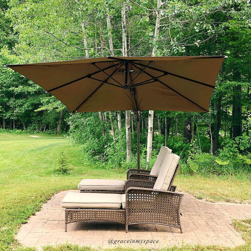 Abba Patio 10 x 10 Feet Rectangular 360 Degree Rotation Offset Cantilever Umbrella (Weights Included)