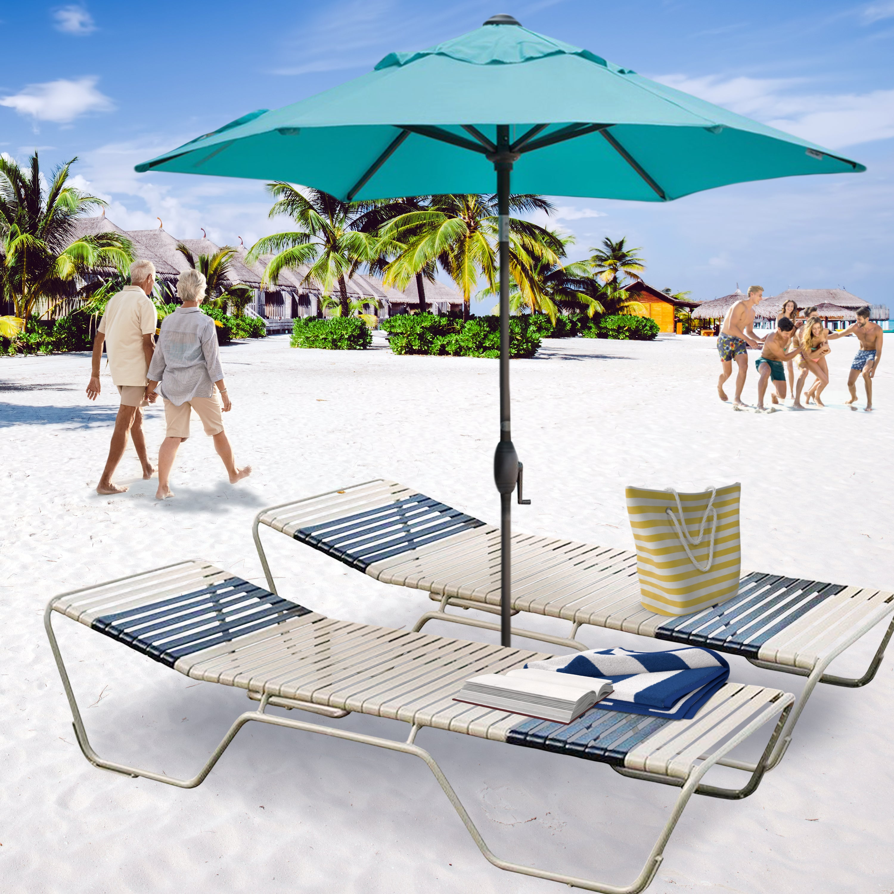 Outdoor Pool Patio Chaise Lounge Set of 2