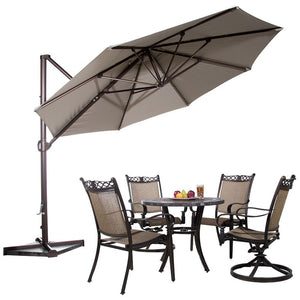 Abba Patio 11-Feet Aluminum Offset Cantilever Umbrella with Cross Base, Tan