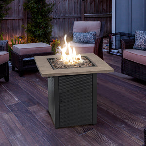"28"" Square Outdoor Propane Gas Fire Pit Table, 48000 BTU, Quick Auto Ignition"
