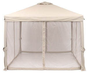 Sorara 10 x 10 Feet Gazebo Pavilion Fully Enclosed Heavy Duty Garden Canopy with Mesh Insect Screen, Sand