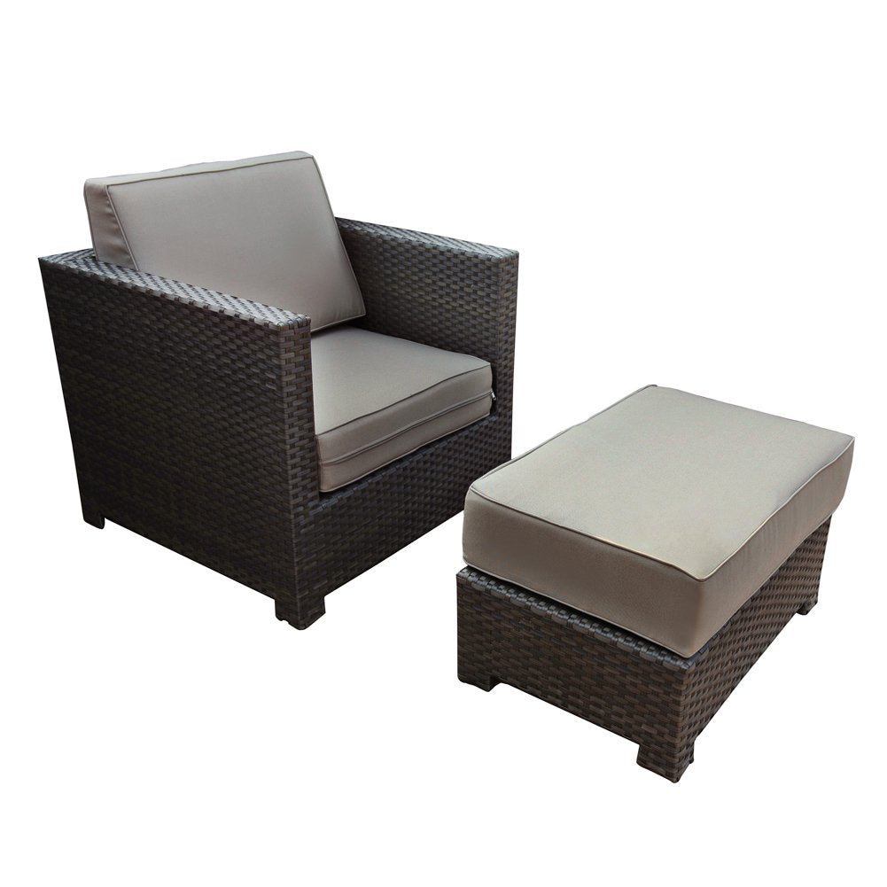 Chair and Ottoman Set with Cushions 2 Piece Outdoor Wicker Sofa Deep Seating Furniture Set